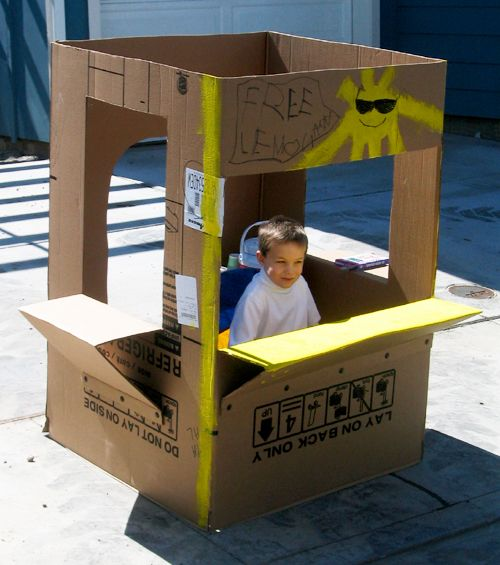 how to build a lemonade stand out of cardboard